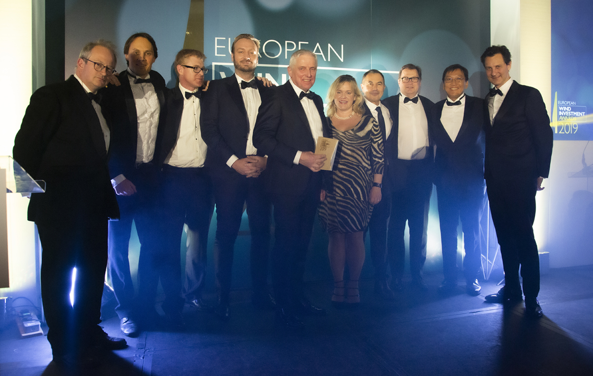 NBT team receiving the award at European Wind Investment Awards